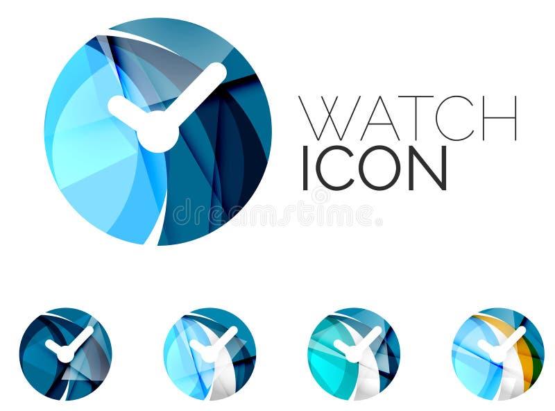 Sistema del icono abstracto del reloj, logotipo del negocio stock de ilustración