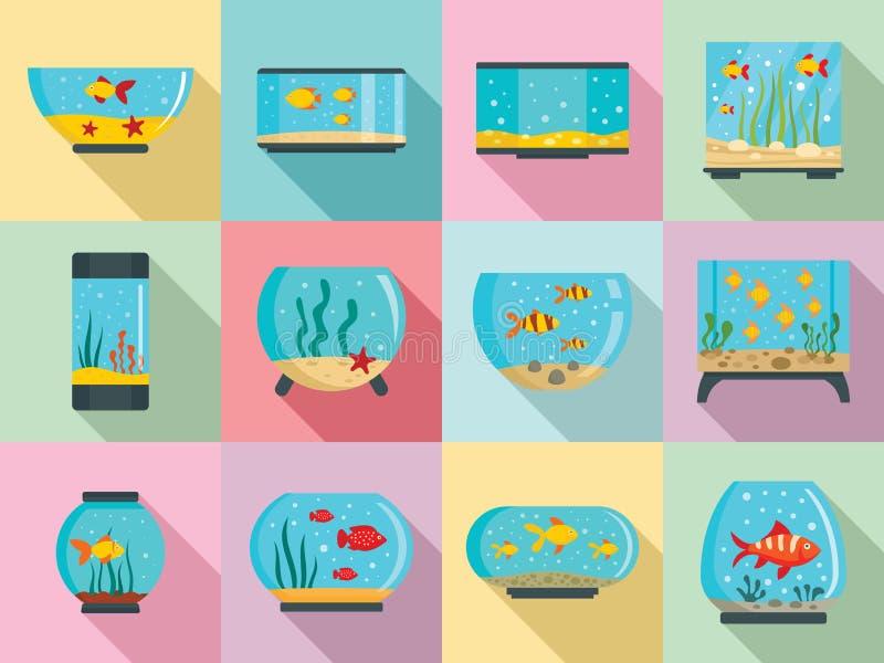 Sistema del icono del acuario, estilo plano libre illustration