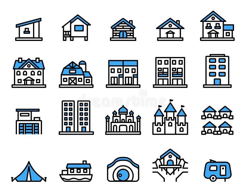 Sistema del icono del alojamiento L?nea fina estilo del vector stock de ilustración