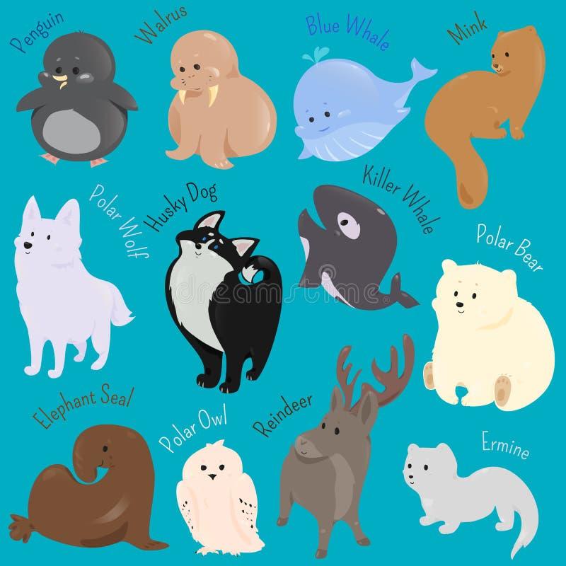 Sistema del icono animal del norte del invierno lindo de la historieta stock de ilustración