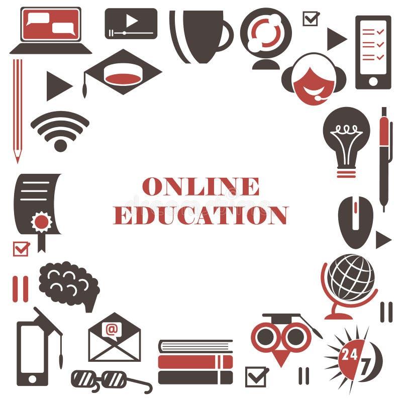 Sistema del icono del aprendizaje electr?nico Iconos en línea aislados de la educación en un fondo blanco bajo la forma de un mar ilustración del vector