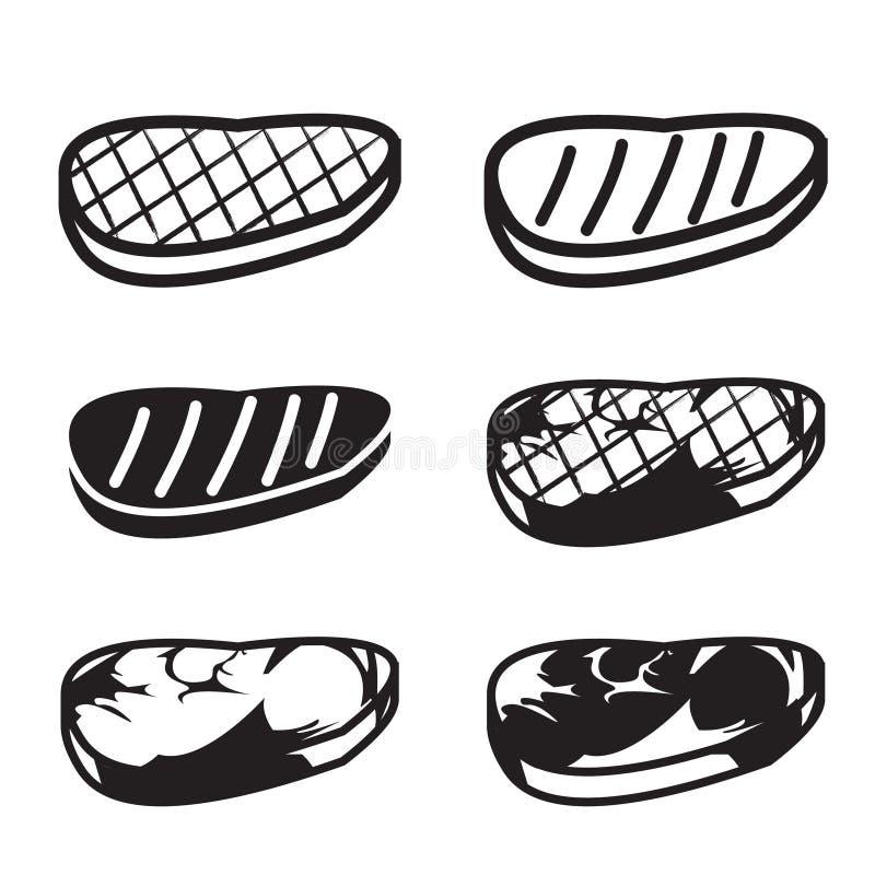 Sistema del icono asado a la parrilla del vector de la carne libre illustration