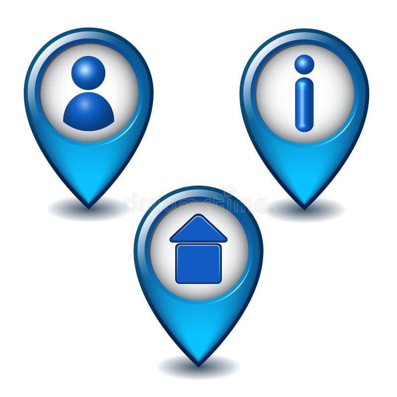 Sistema del icono azul del indicador del mapa libre illustration