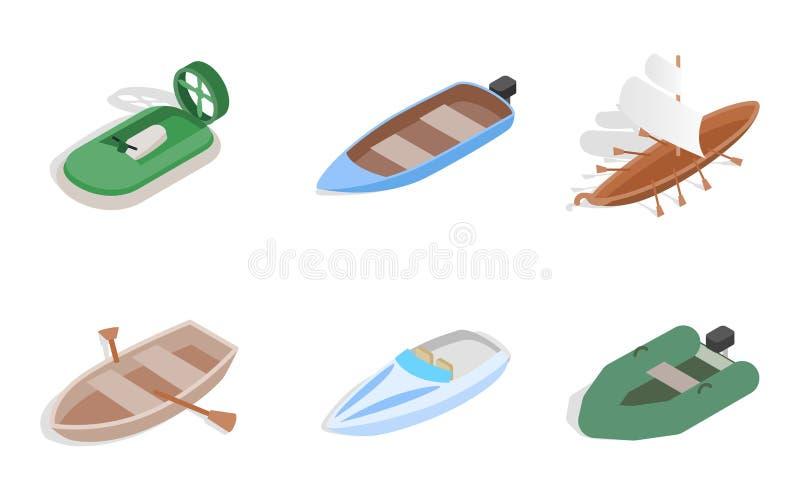 Sistema del icono del barco de mar, estilo isométrico libre illustration