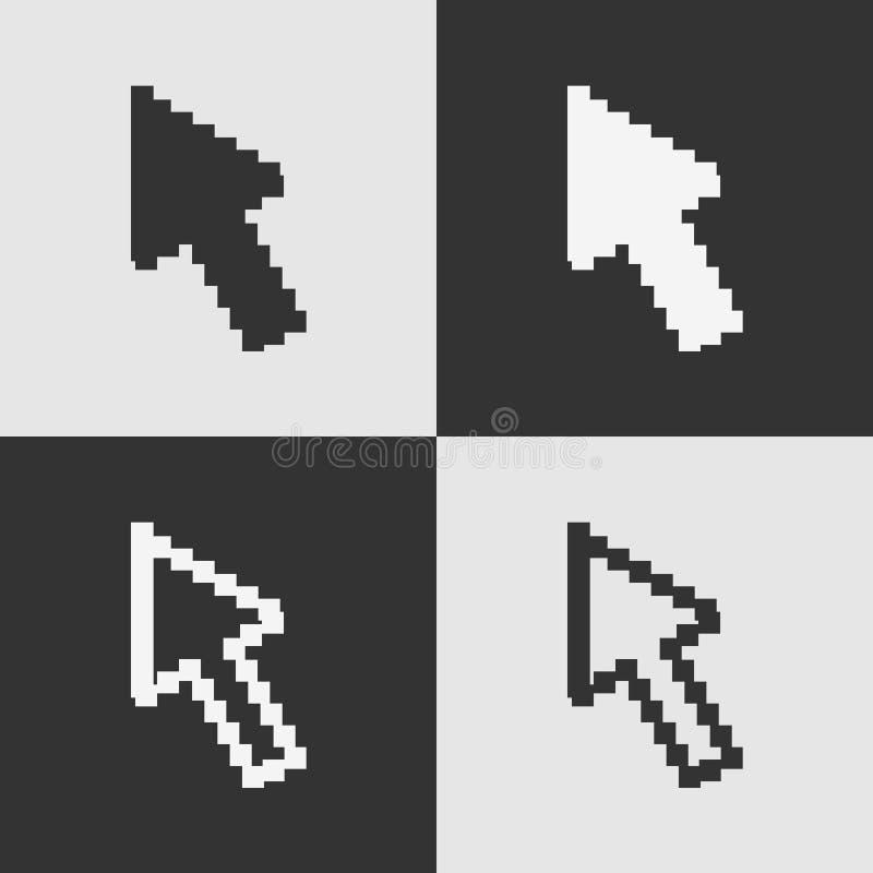 Sistema del icono blanco y negro del cursor de la flecha del pixel aislado en fondo Interno plano moderno del pictograma stock de ilustración