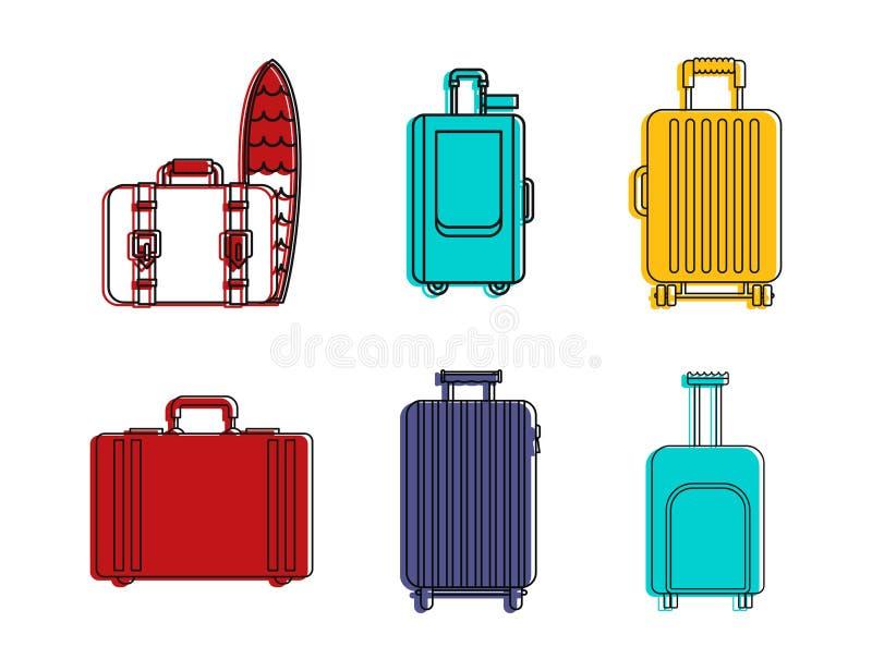 Sistema del icono del bolso del viaje, estilo del esquema del color stock de ilustración