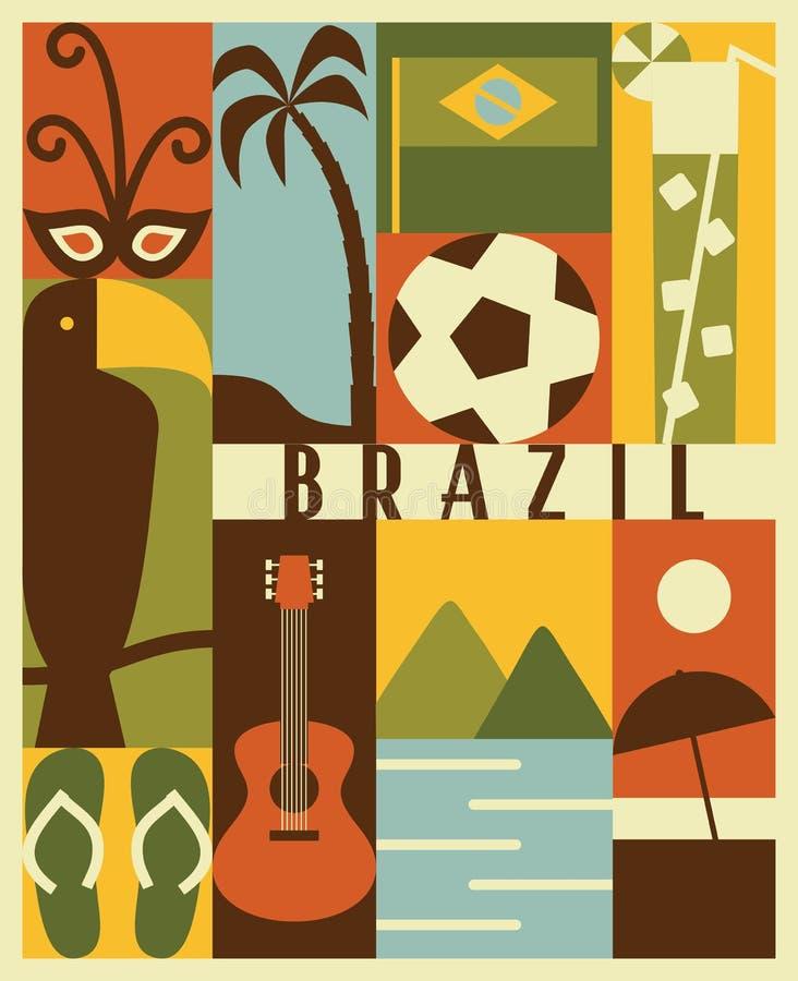 Sistema del icono del Brasil del vector stock de ilustración