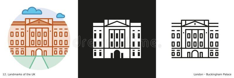 Sistema del icono del Buckingham Palace ilustración del vector