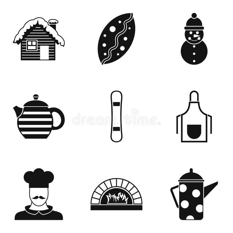 Sistema del icono del café del invierno, estilo simple libre illustration