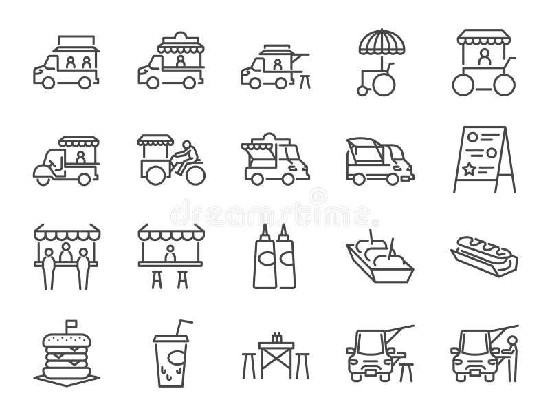 Sistema del icono del camión de la comida Incluyó los iconos como mercado de pulgas, la comida de la calle, la hamburguesa, el pe ilustración del vector