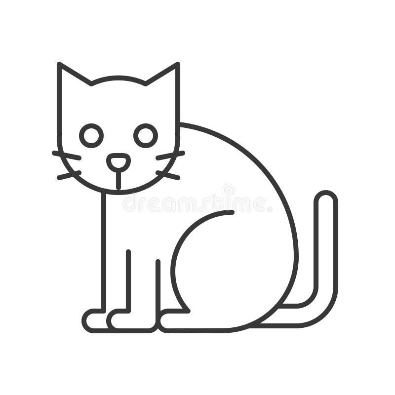 Sistema del icono del carácter de Halloween del gato negro, esquema editable del strock stock de ilustración