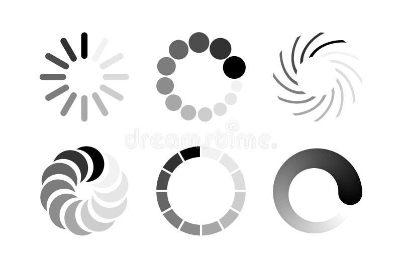Sistema del icono del cargamento encendido aislado en el fondo blanco Elementos del diseño del vector ilustración del vector