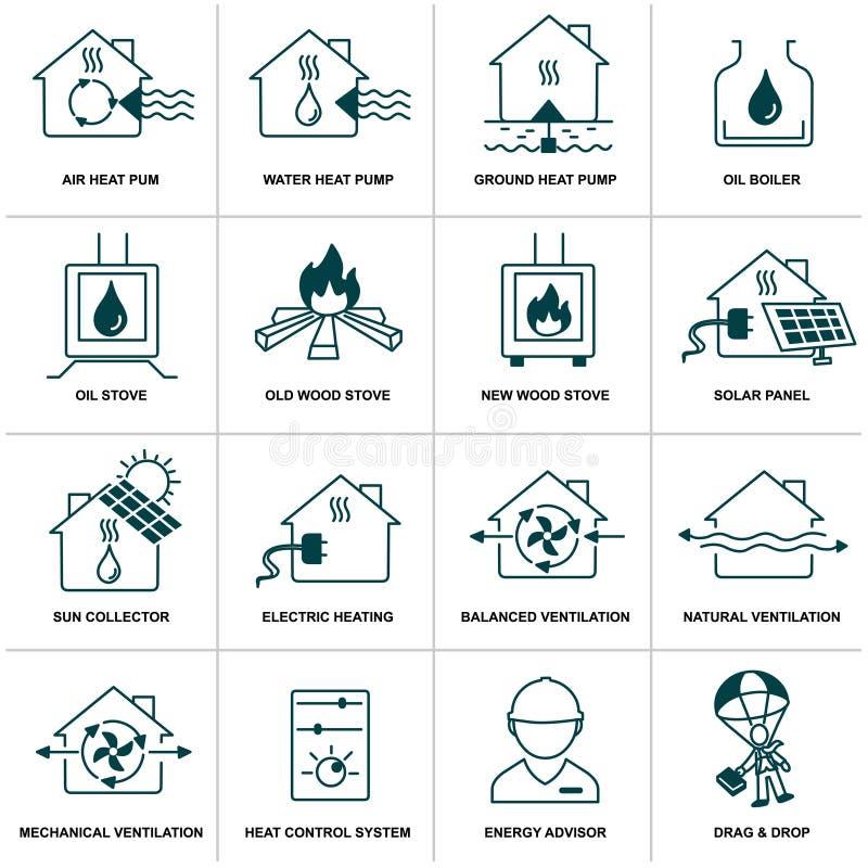 Sistema del icono casero de la energía stock de ilustración