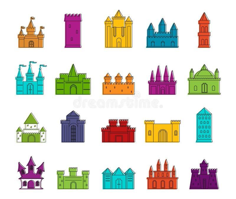 Sistema del icono del castillo, estilo del esquema del color ilustración del vector