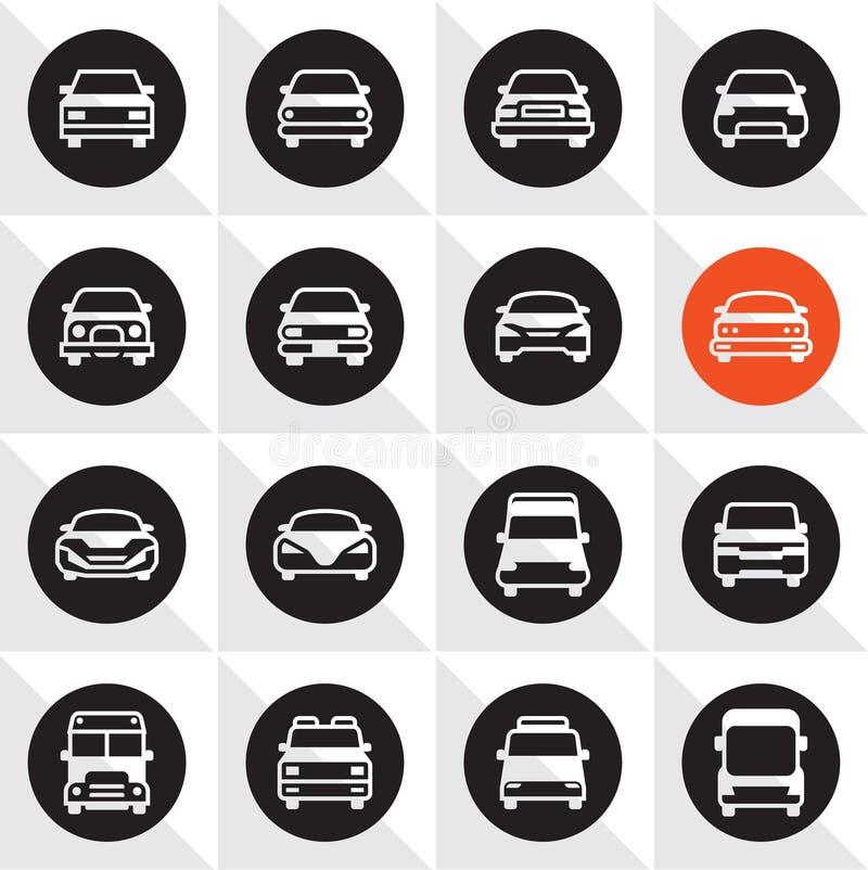 Sistema del icono del coche Frente de los coches ilustración del vector