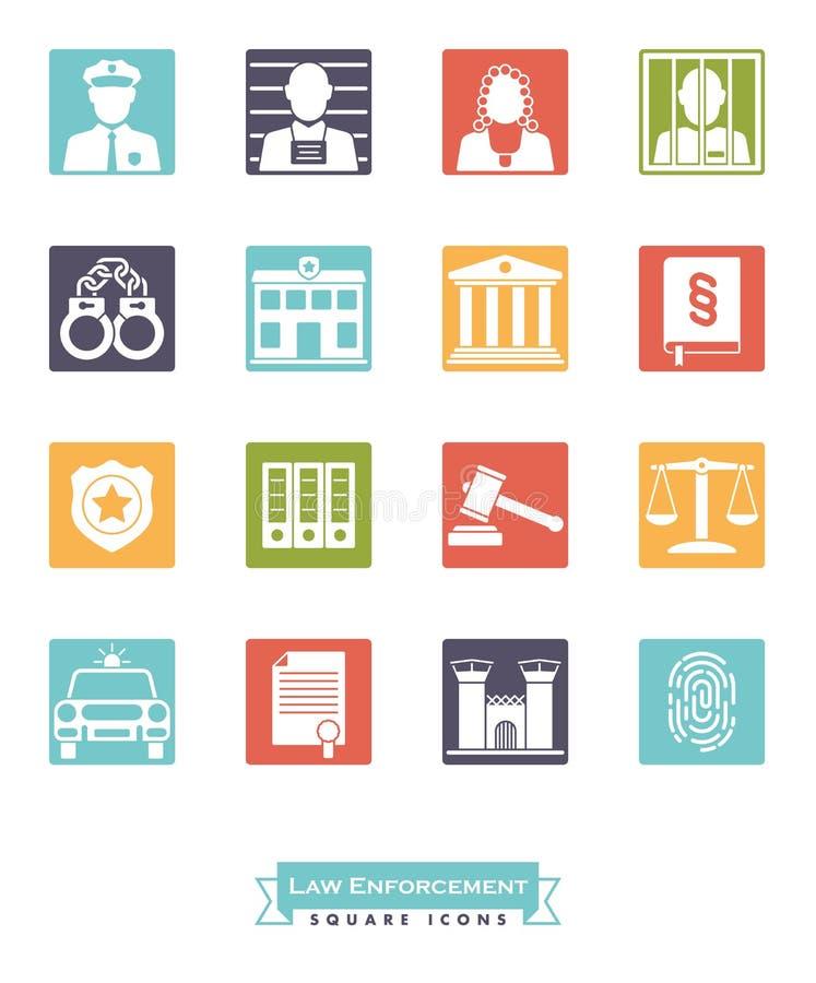 Sistema del icono del color del cuadrado de la aplicación de ley stock de ilustración