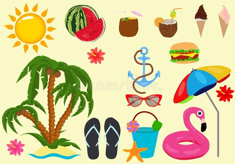 Sistema del icono del color de la playa, símbolos colección, bosquejos del vector, ejemplos del logotipo, muestras del verano de  ilustración del vector