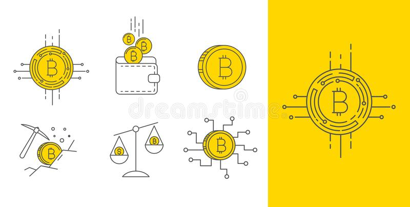 Sistema del icono del concepto del bitcoin del oro de Digitaces libre illustration