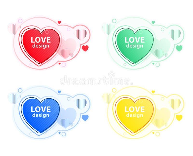 Sistema del icono del corazón, símbolo del amor Elementos gr?ficos modernos abstractos Formas y l?nea coloreadas din?micas stock de ilustración