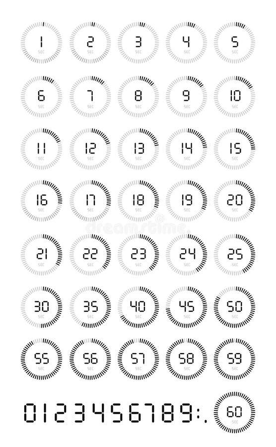 Sistema del icono del cronómetro los 5, 10, 15, 20, 25, 30, 35, 40, 45, 50, 55, 60 segundos, contador de tiempo digital Reloj y r ilustración del vector