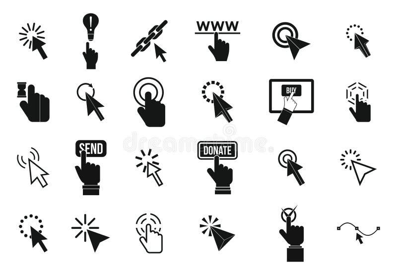 Sistema del icono del cursor, estilo simple ilustración del vector