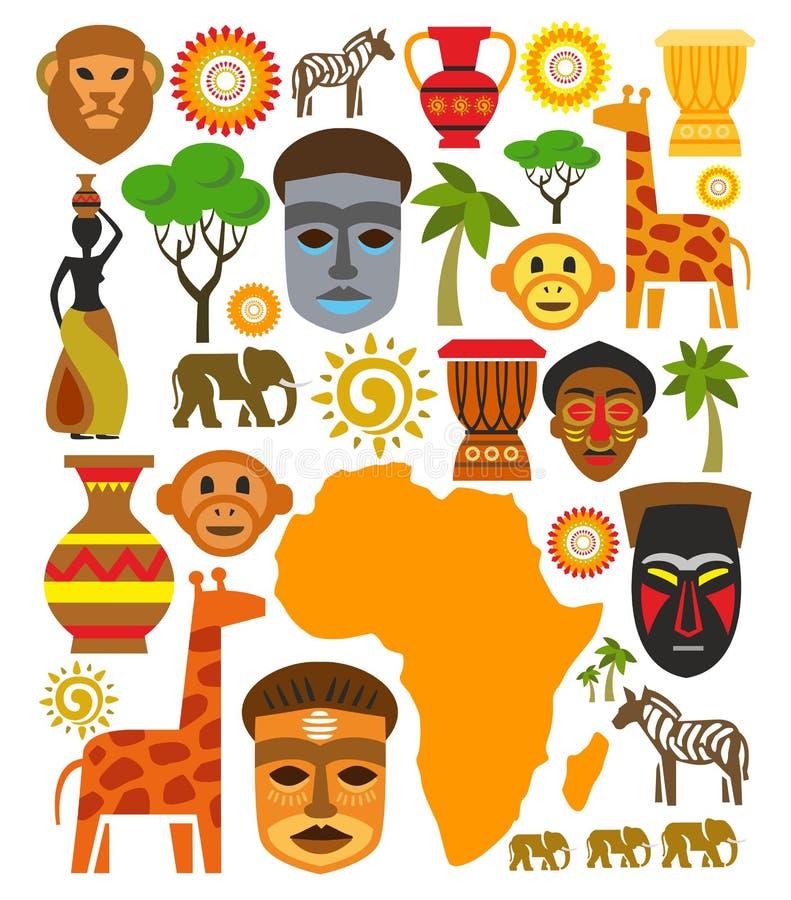 Sistema del icono de África del vector stock de ilustración