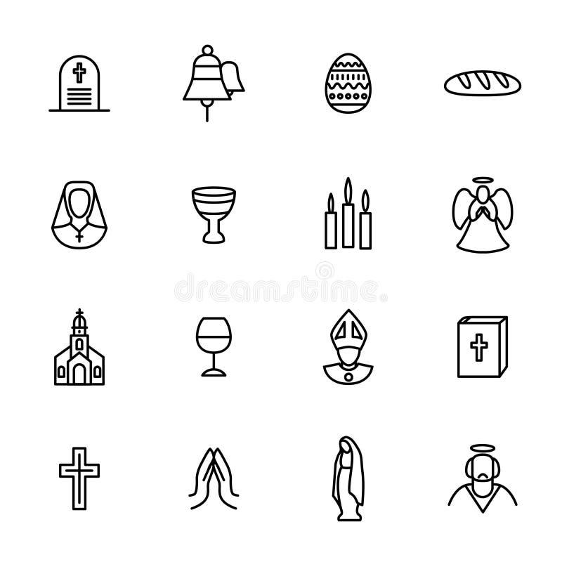 Sistema del icono de Christian Signs Black Thin Line Vector libre illustration
