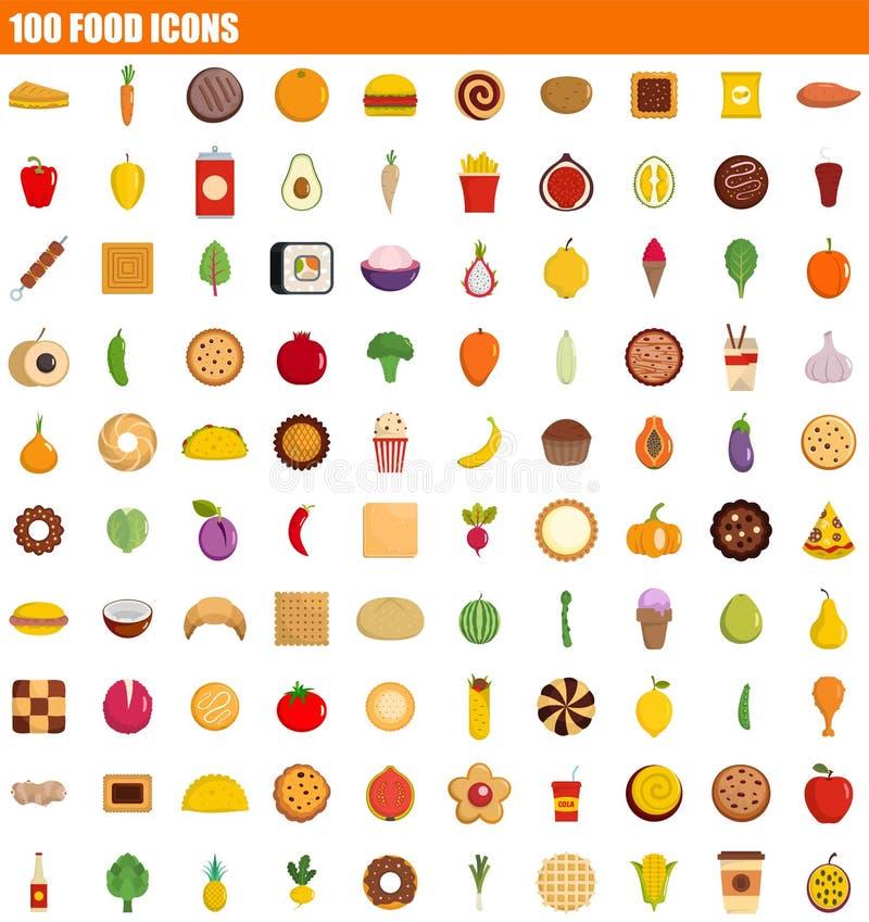 sistema del icono de 100 comidas, estilo plano ilustración del vector