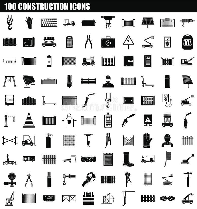 sistema del icono de 100 construcciones, estilo simple libre illustration