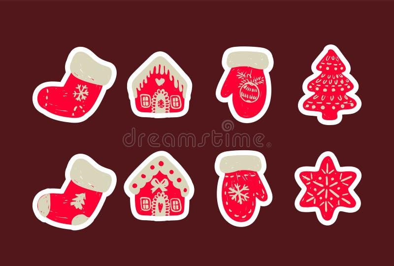 Sistema del icono de cosas lindas de la Navidad Sistema de los calcetines, de la casa, de los guantes y del árbol dibujados mano  stock de ilustración