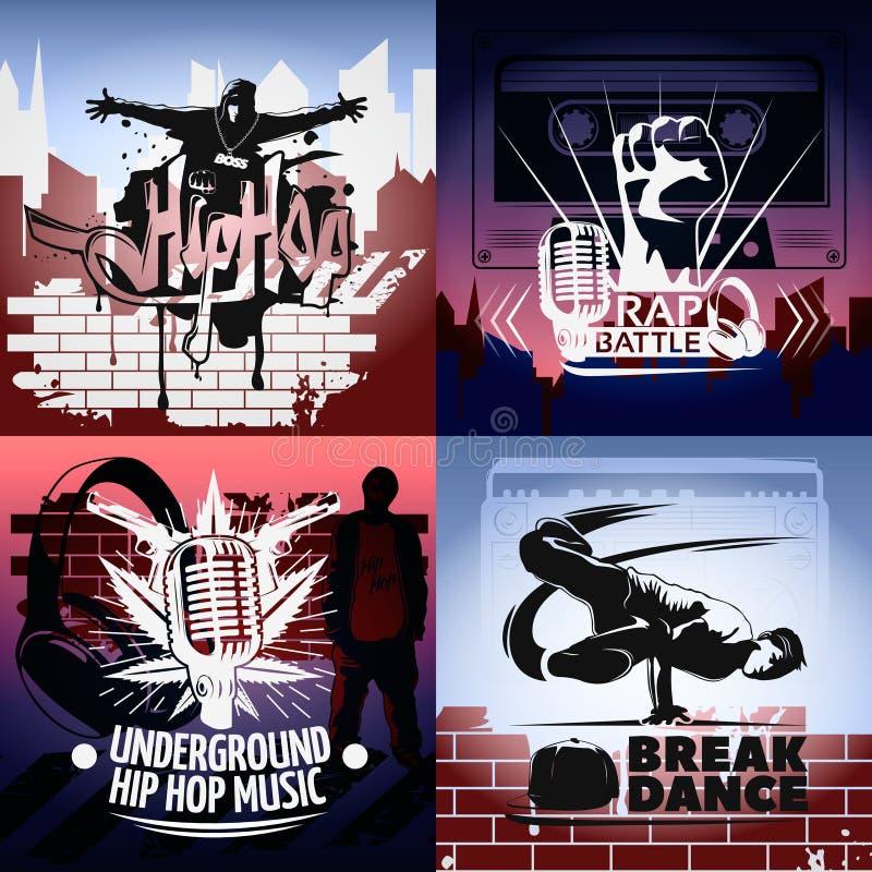 Sistema del icono de cuatro Hip Hop libre illustration