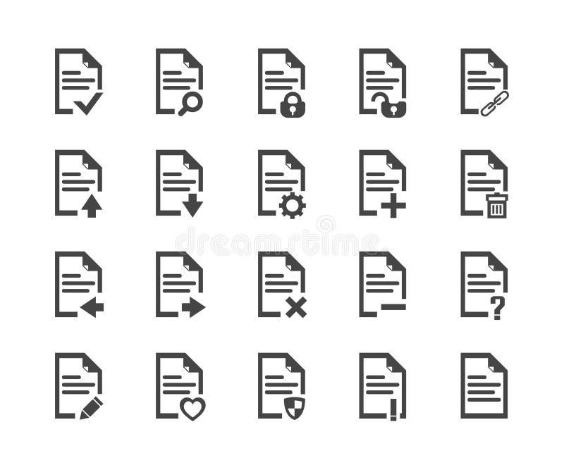 Sistema del icono de documento, símbolo del vector ilustración del vector