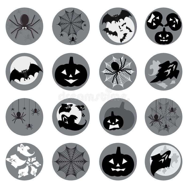 Sistema del icono de Halloween ilustración del vector