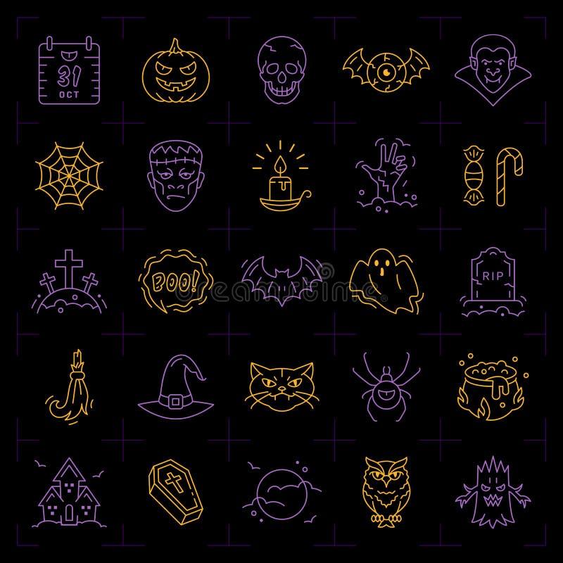 Sistema del icono de Halloween Iconos coloridos de Halloween en un fondo negro La línea fina diseño del arte, Vector el ejemplo p ilustración del vector