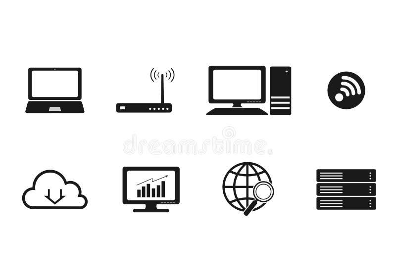 Sistema del icono de Internet del ordenador, muestras aisladas blancos y negros stock de ilustración