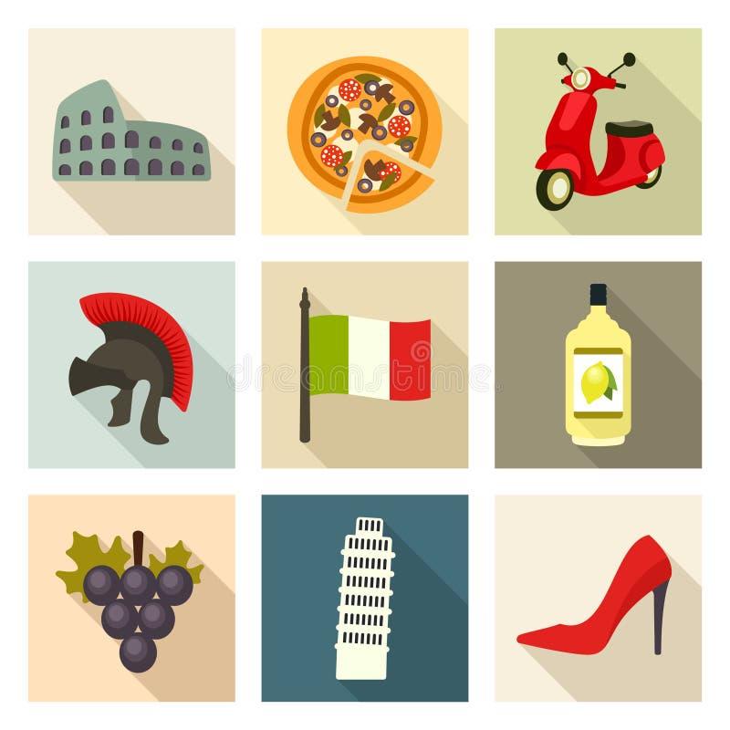 Sistema del icono de Italia ilustración del vector