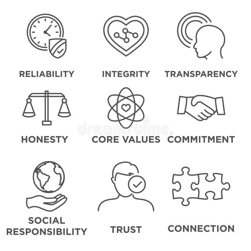 Sistema del icono de la ética empresarial ilustración del vector