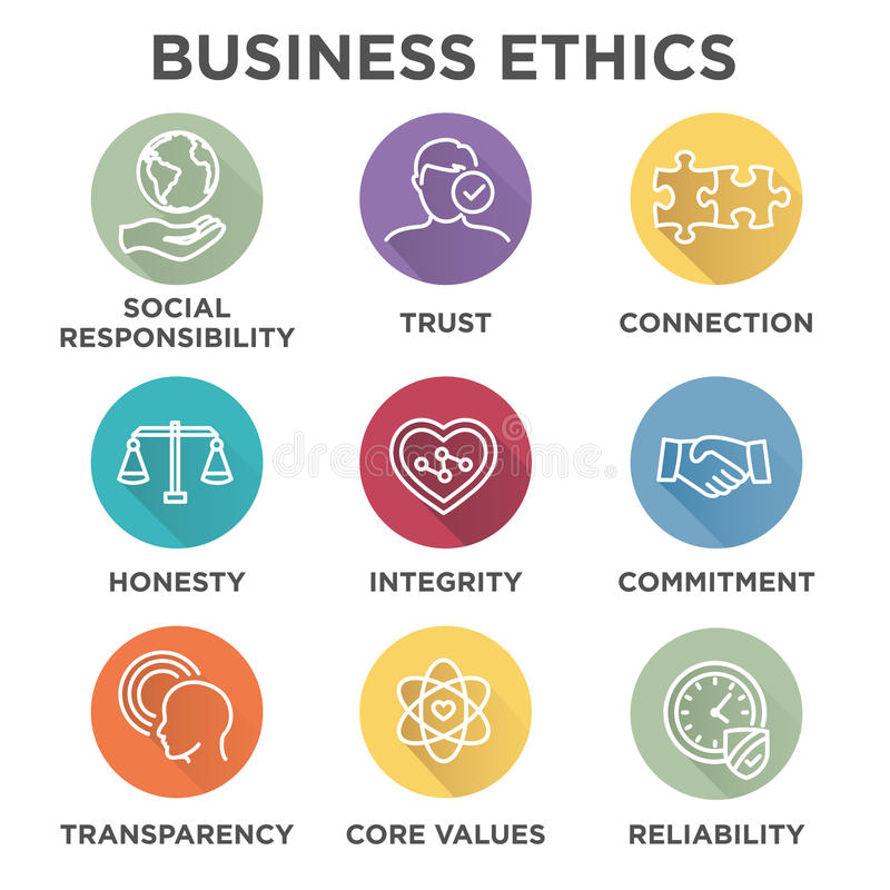 Sistema del icono de la ética empresarial stock de ilustración