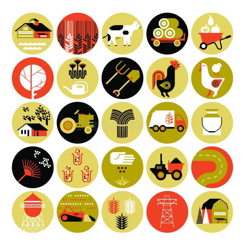 Sistema del icono de la agricultura stock de ilustración