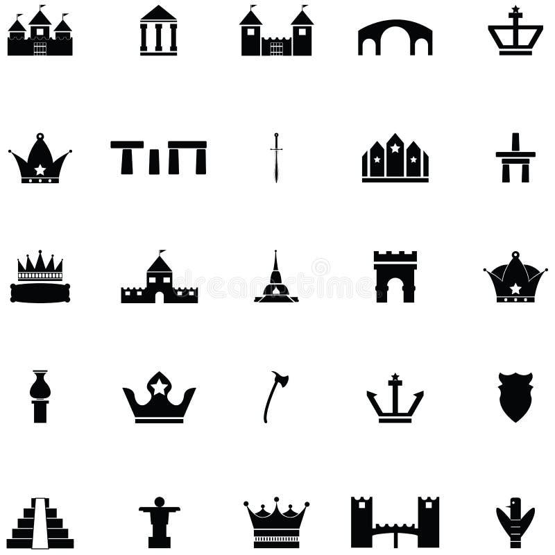 Sistema del icono de la arqueología stock de ilustración