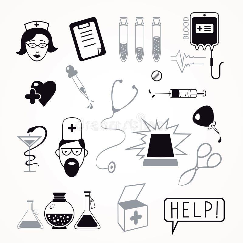Sistema del icono de la atención sanitaria y de la medicina stock de ilustración