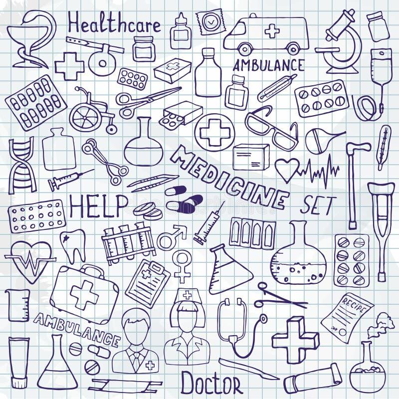 Sistema del icono de la atención sanitaria y de la medicina Ejemplos del garabato del vector ilustración del vector