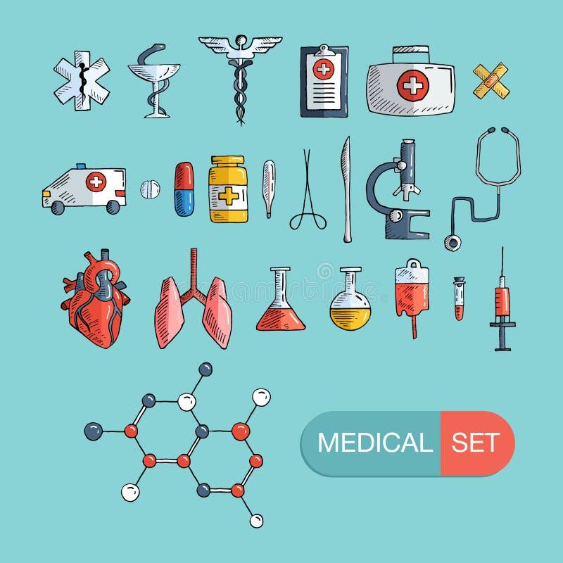 Sistema del icono de la atención sanitaria y de la medicina Graphhics del vector ilustración del vector