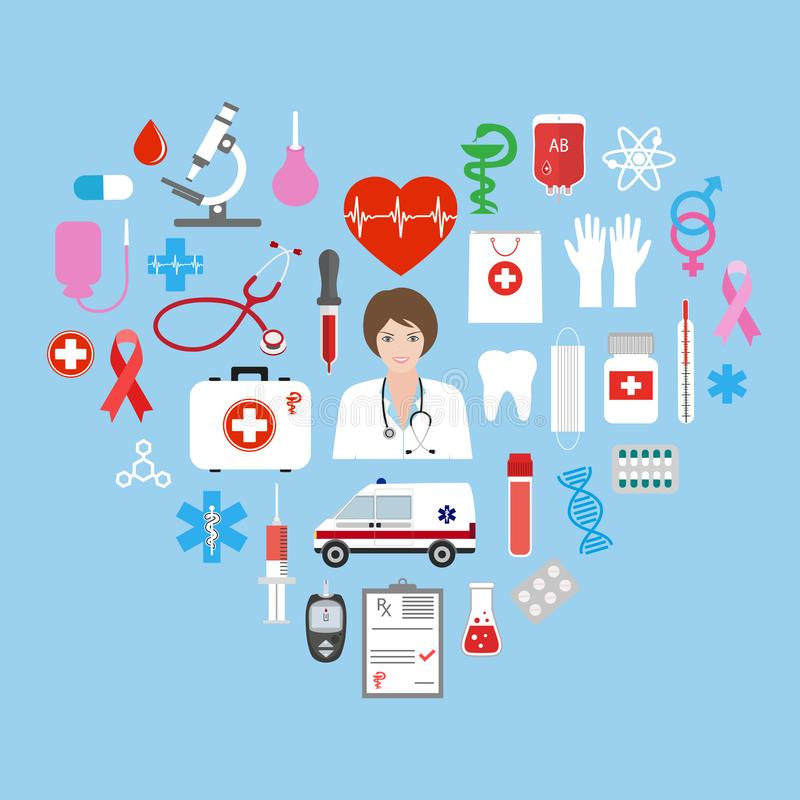 Sistema del icono de la atención sanitaria y de la medicina Ejemplo plano ilustración del vector