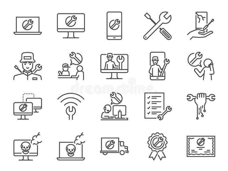 Sistema del icono de la ayuda de las TIC Incluyó los iconos como soporte técnico, técnico, ordenador quebrado, puesto de informac stock de ilustración