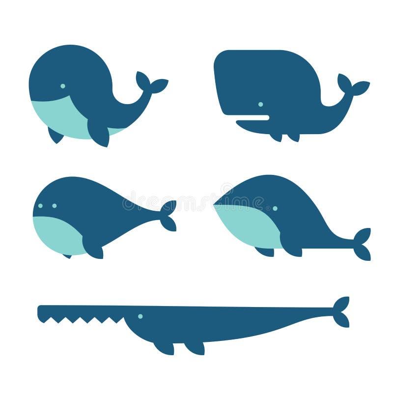 Sistema del icono de la ballena Estilo de la historieta en el fondo blanco Vector stock de ilustración