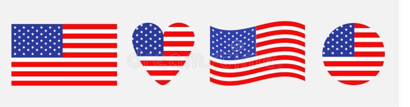 Sistema del icono de la bandera americana Agitando, corazón, forma redonda Símbolo feliz de la muestra del Día de la Independenci stock de ilustración
