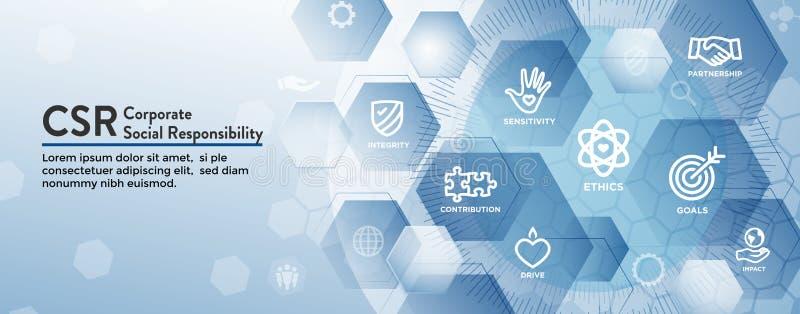 Sistema del icono de la bandera del web de la responsabilidad y prohibición CSR-sociales del jefe del web stock de ilustración