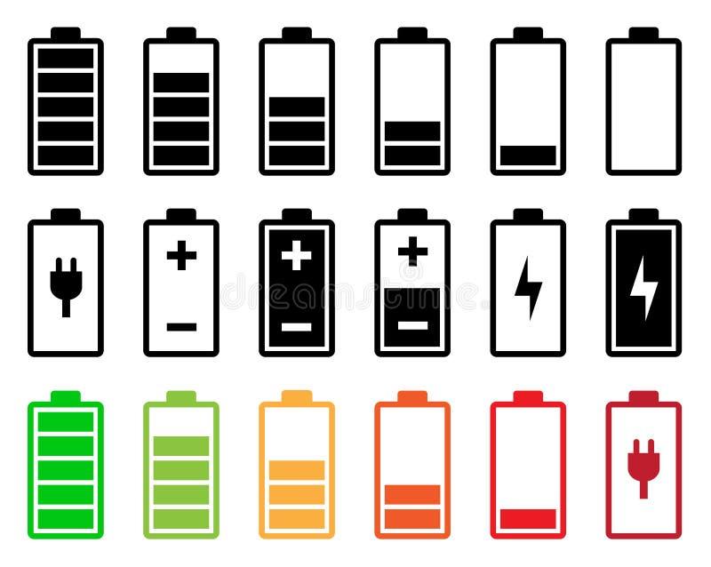 Sistema del icono de la batería ilustración del vector