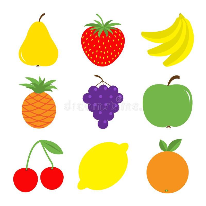 Sistema del icono de la baya de la fruta Pera, fresa, plátano, piña, uva, manzana, cereza, limón, anaranjado Comida sana de la gr stock de ilustración